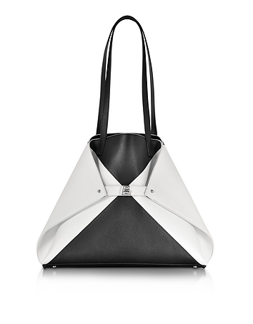 Akris - Ai Medium Black and White Reversible Leather Tote bag