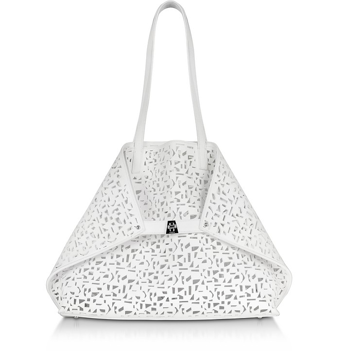 Ai Medium White Laser Cut Leather Tote Bag w/Inner Canvas Tote - Akris