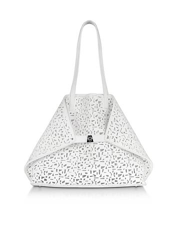 Ai Medium White Laser Cut Leather Tote Bag w/Inner Canvas Tote