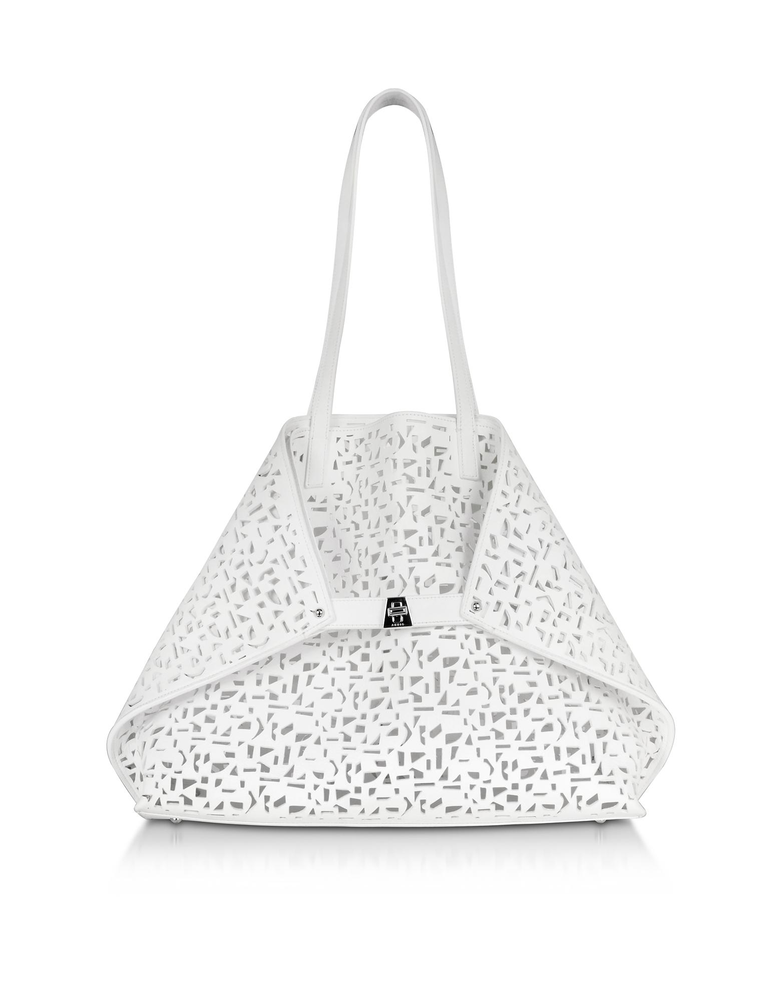 Image of Ai Medium Shopper in Pelle Laser Cut Out Bianco Ottico