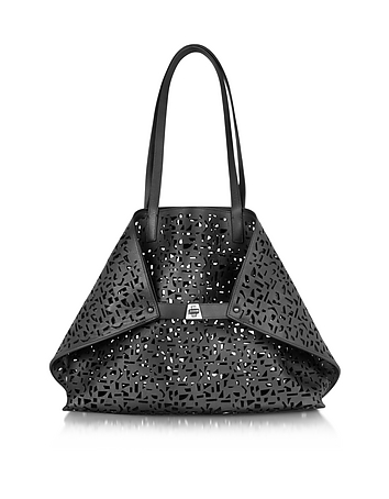 Akris - Ai Medium Black Laser Cut Leather Tote Bag w/Inner Canvas Tote