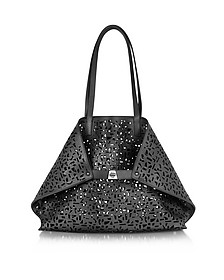 Ai Medium Black Laser Cut Leather Tote Bag w/Inner Canvas Tote - Akris