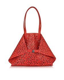 Ai Medium Scarlet/Zinnia Laser Cut Leather Tote Bag w/Inner Canvas Tote - Akris