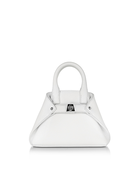 Image of Akris Ai Micro Crossbody Bag in Pelle Bianco Ottico