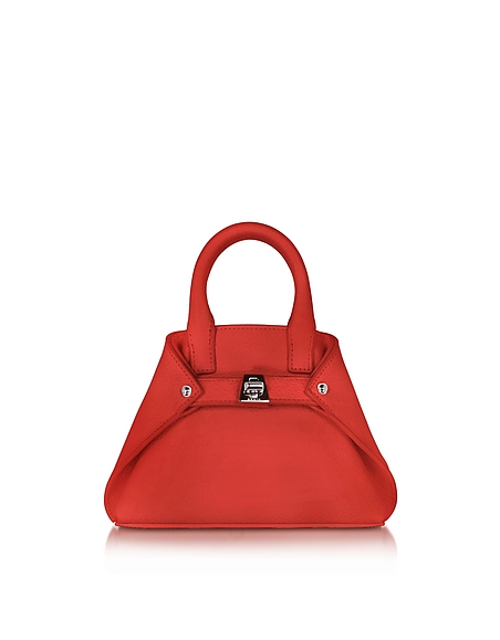 Image of Akris Ai Micro Crossbody Bag in Pelle Scarlet