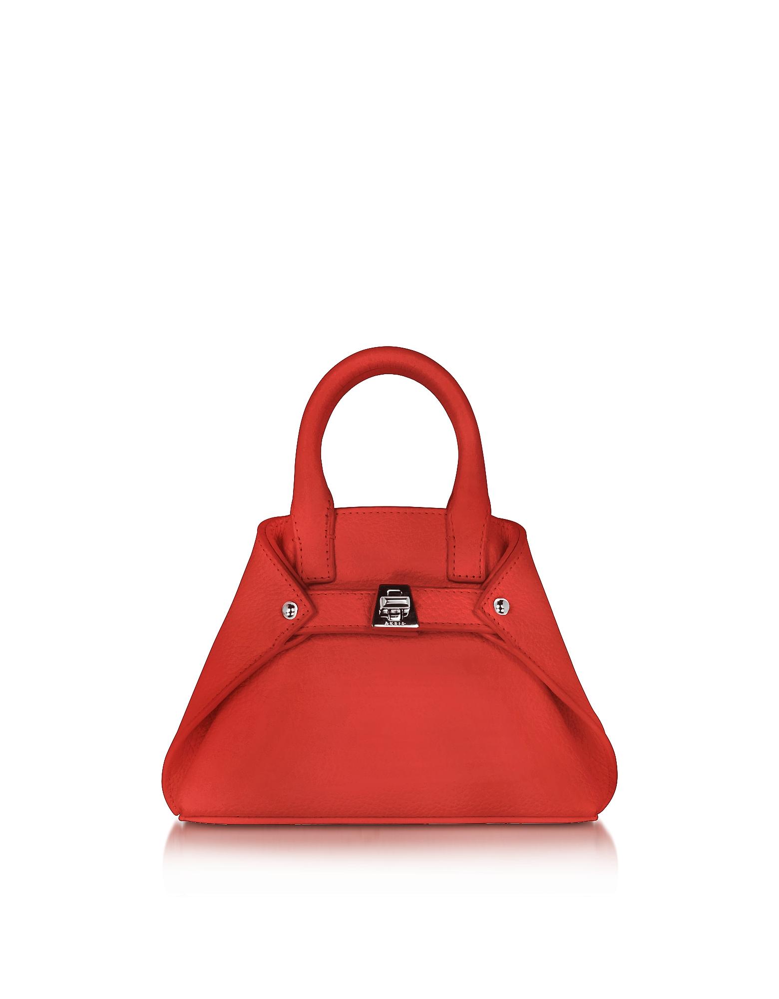 Akris Handbags, Scarlet Leather Micro Ai Crossbody Bag