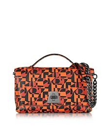 Iberica Print Tangerine Leather Small Anouk Shoulder Bag - Akris