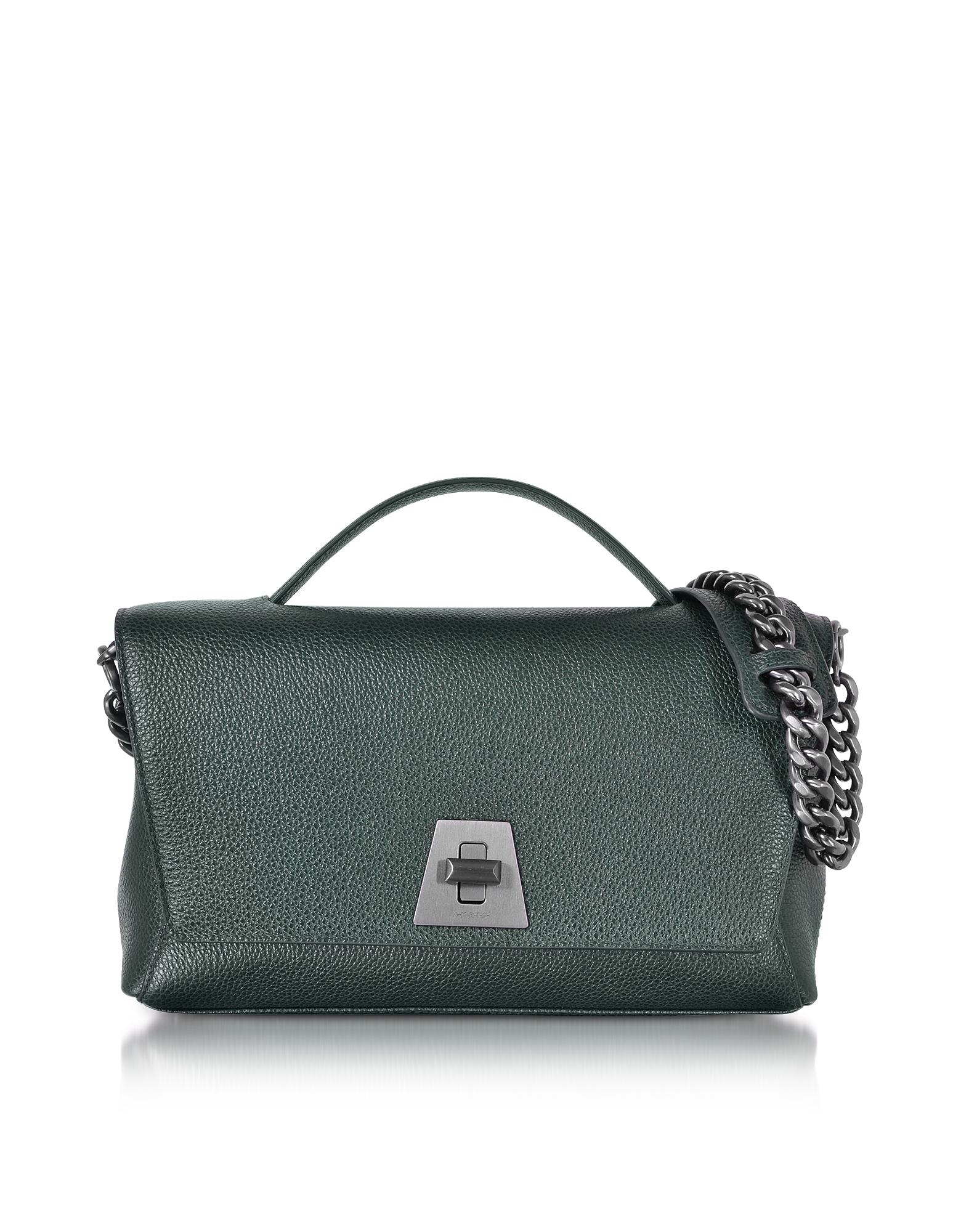 Фото Cervocalf Anouk Day Bag - Темно-зеленая Сумка со Съемным Ремешком на Плечо. Купить с доставкой