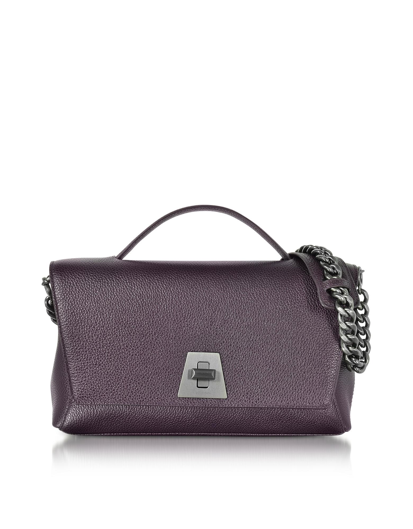 Akris Handbags, Blackberry Cervocalf Anouk Day Bag w/Detachable Chain