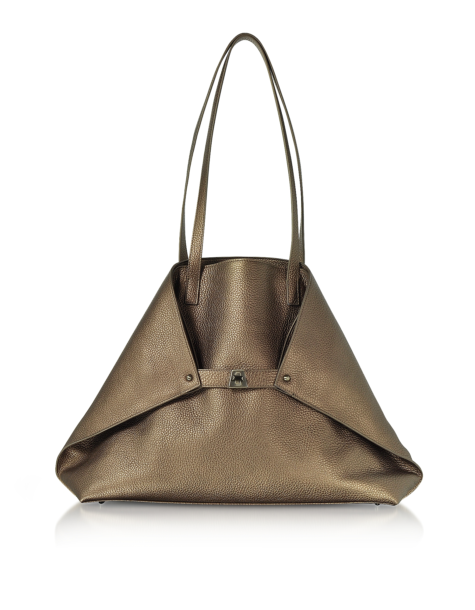 Copper Laminated Cervocalf Ai Medium Shoulder Bag