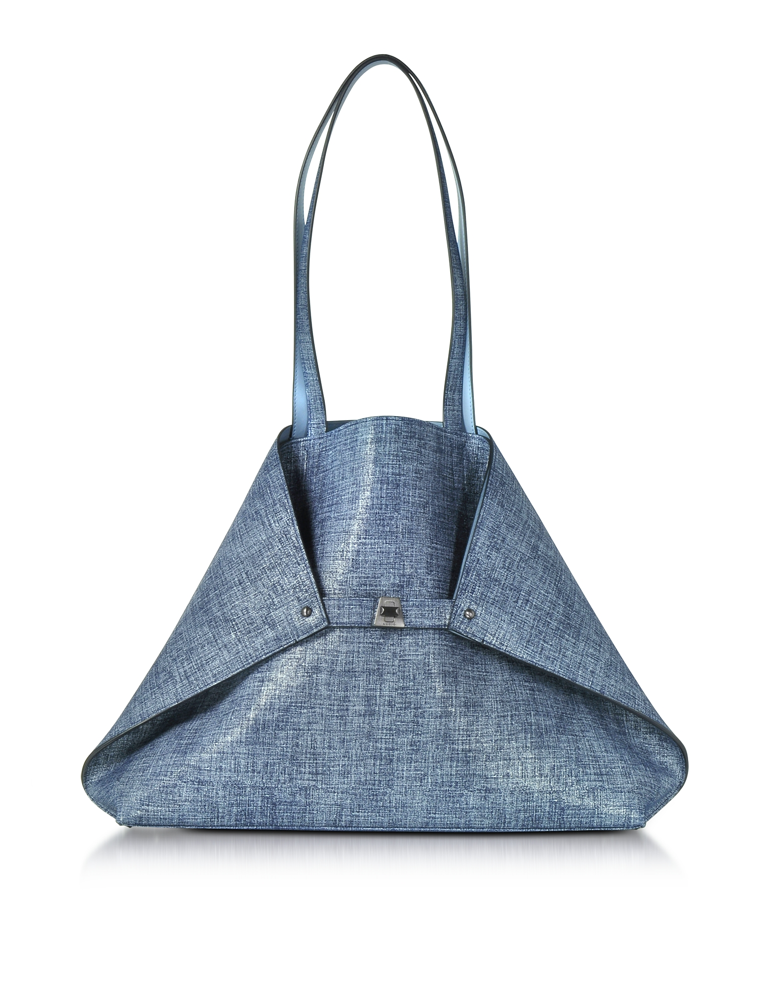 Akris Handbags, Dark Denim Printed Nubuck and Pale Sky Softcalf Ai Medium Reversible Bag