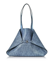 Dark Denim Printed Nubuck and Pale Sky Softcalf Ai Medium Reversible Bag - Akris