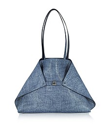 Dark Denim Printed Nubuck and Denim Softcalf Ai Medium Reversible Bag - Akris