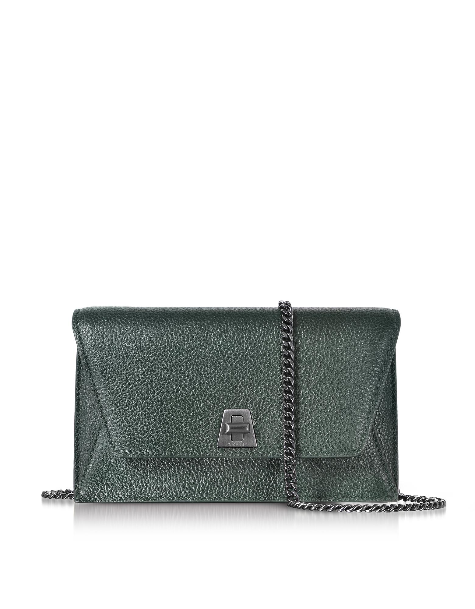 Akris Handbags, Bottle Green Cervocalf Anouk Mini Envelope Bag
