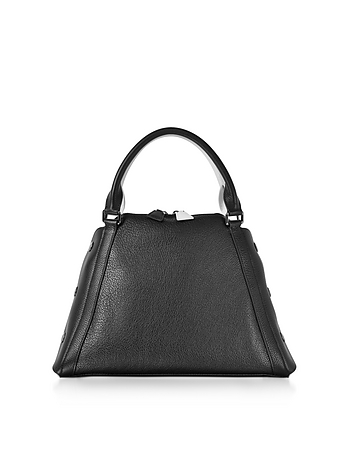 S Aimee Black and Cream Pebbled Leather Satchel Bag
