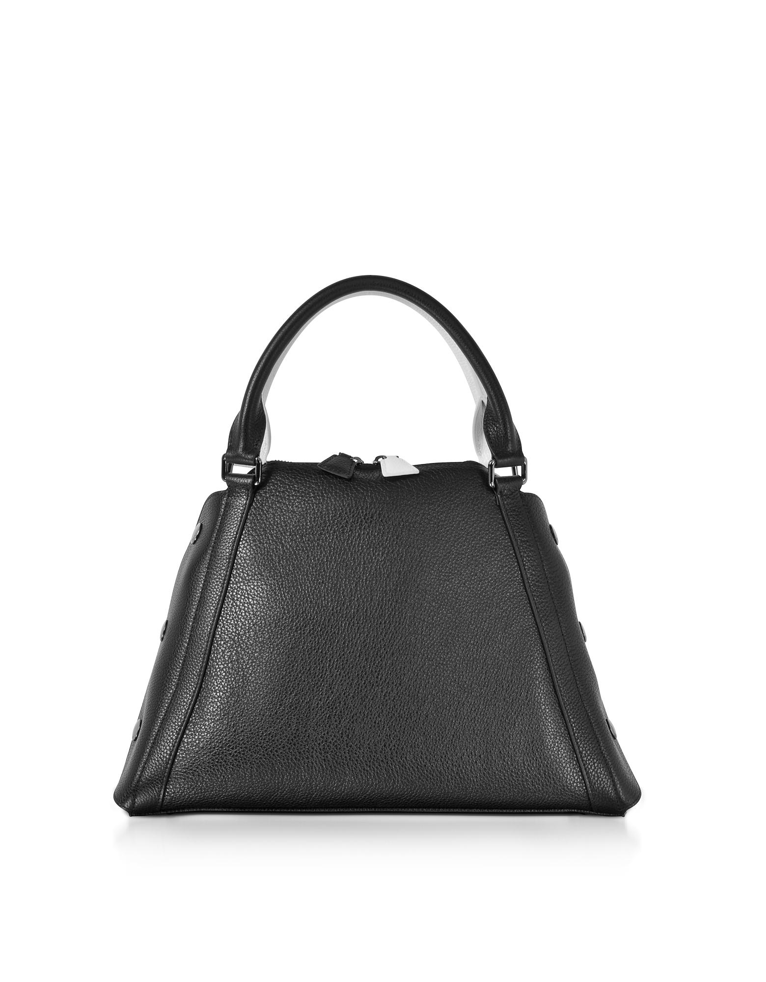 Akris Handbags, S Aimee Black and Cream Pebbled Leather Satchel Bag