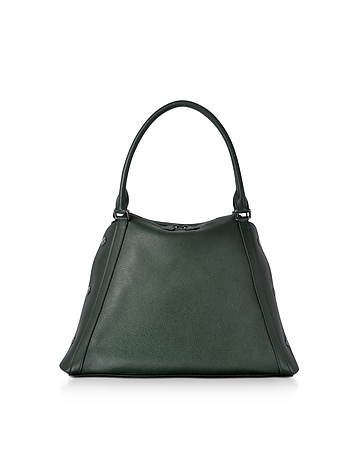 M Aimee Bottle Green Leather Satchel Bag
