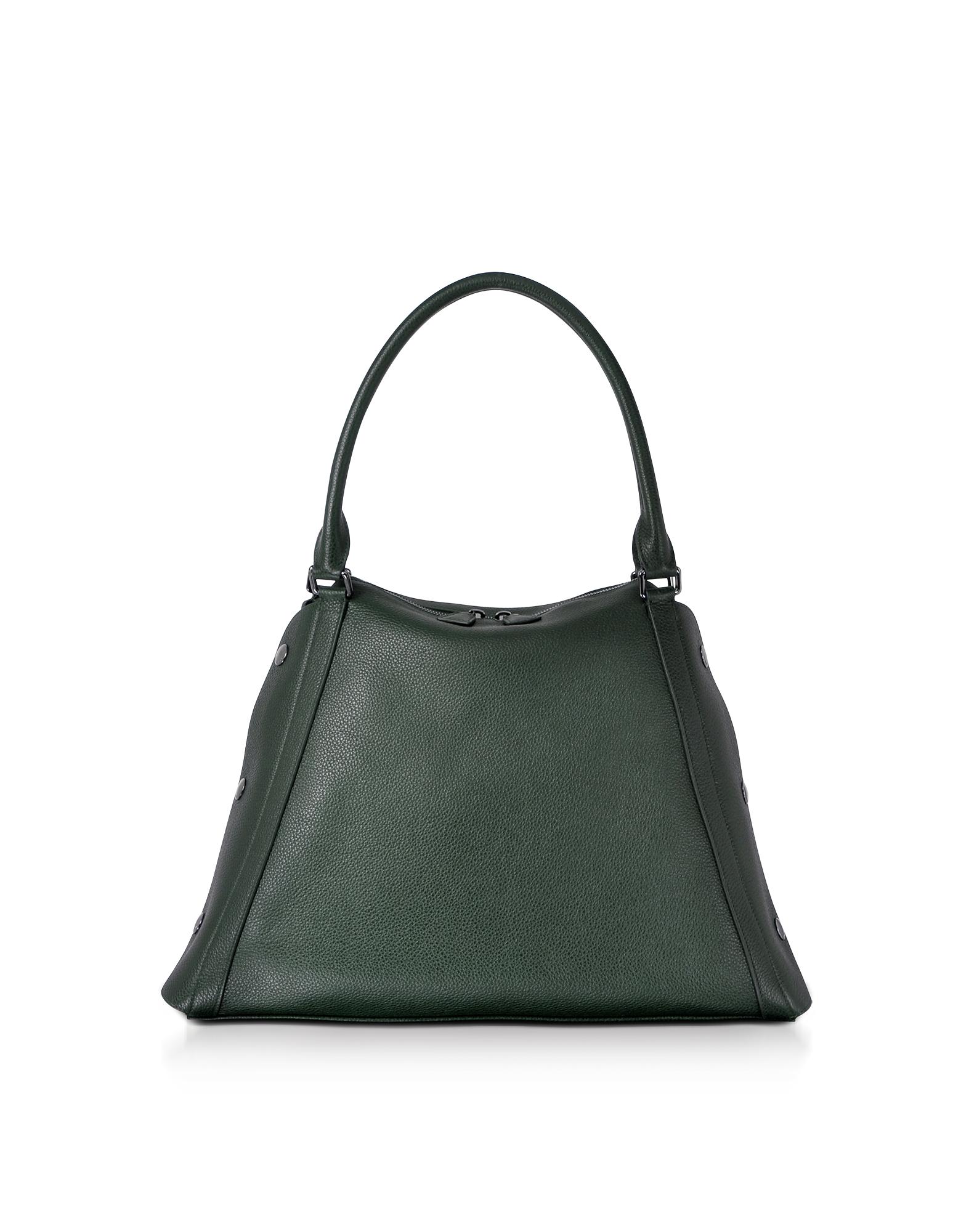 Akris Handbags, M Aimee Bottle Green Leather Satchel Bag