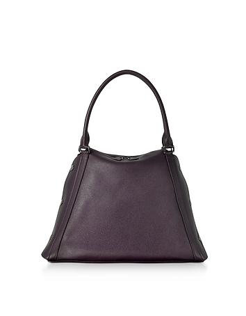 M Aimee Blackberry Leather Satchel Bag