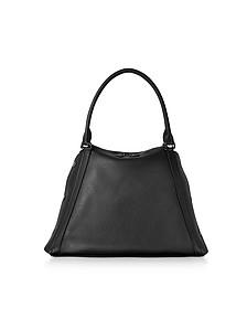 M Aimee Black Leather Satchel Bag - Akris