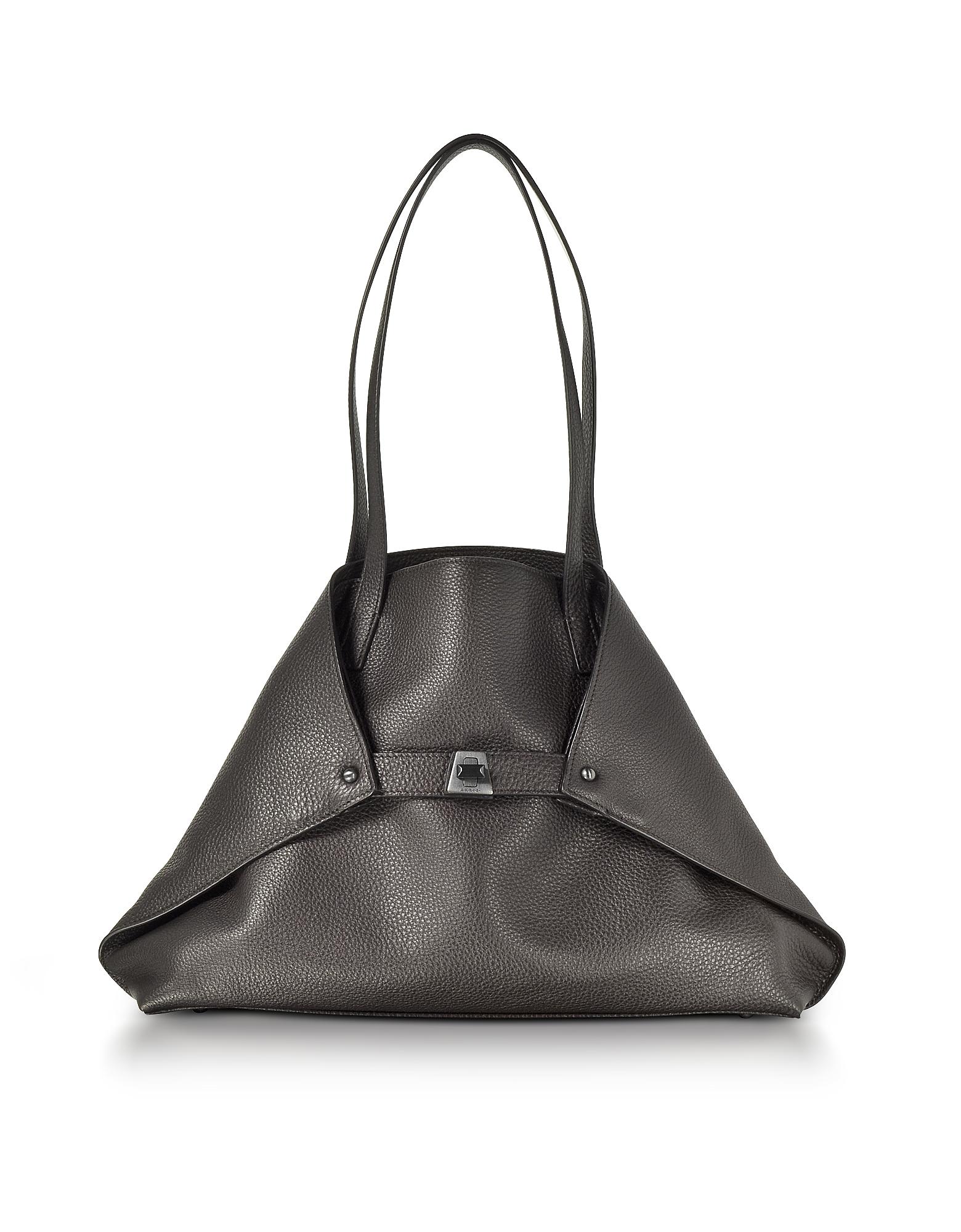 Akris Handbags, Mocca Brown Cervocalf Ai Small Shoulder Bag