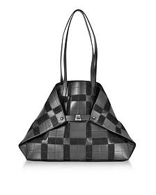 Black Leather and Suede Ai Medium Shoulder Bag - Akris