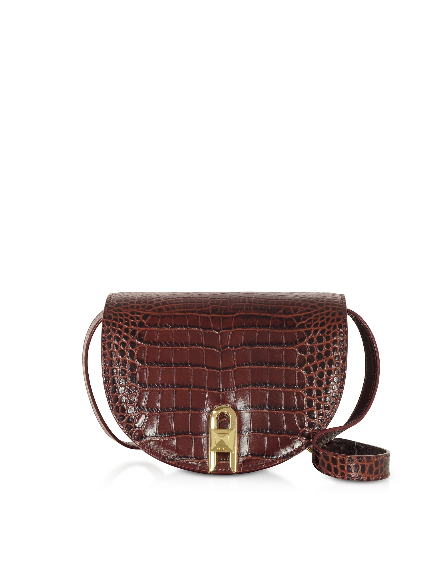 Salar Designer Handbags, Frida Croco Embossed Leather Crossbody Bag