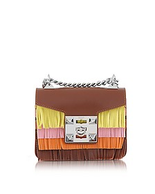 Gaia Aloha Colorblock Leather Finged Shoulder Bag - Salar