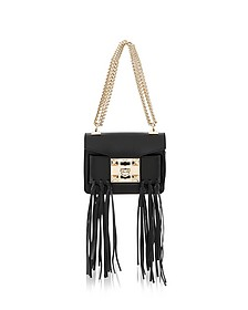 Gaia Knot Black Leather Shoulder Bag w/Fringes - Salar