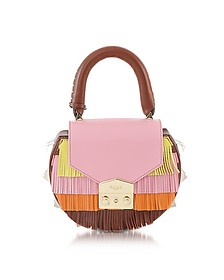 Mimi Aloha Finged Colorblock Leather Shoulder Bag - Salar