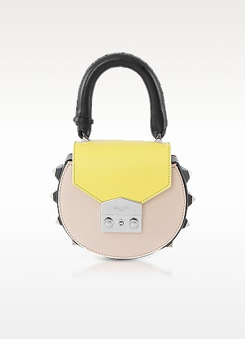 Salar Mimi Mini Black, Lime, Cream Leather Shoulder Bag at FORZIERI
