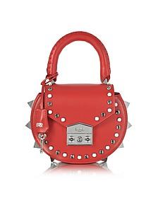 Mimi Ring Poppy Schultertasche aus Leder in rot - Salar