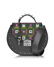 Eva Pop Black Leather Studded Shoulder Bag - Salar