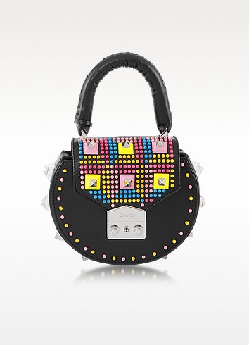 Mimi Pop Black Studded Leather Shoulder Bag  - Salar