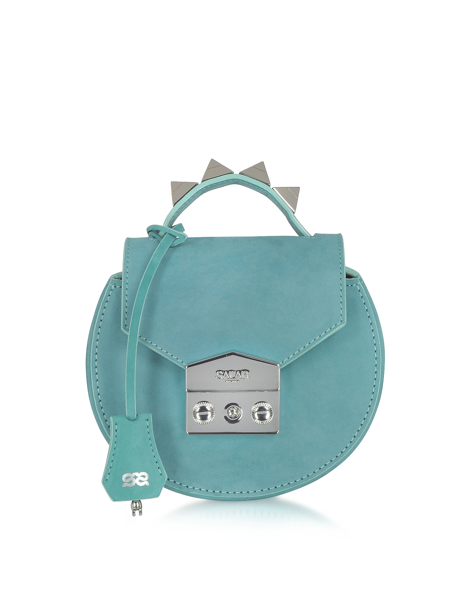 Salar Handbags, Carol Sea Green Nubuck Mini Shoulder Bag