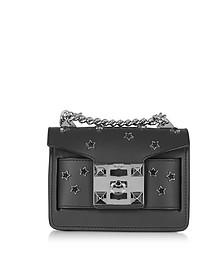 Gaia Cosmo Black Leather Shoulder Bag w/Stars - Salar