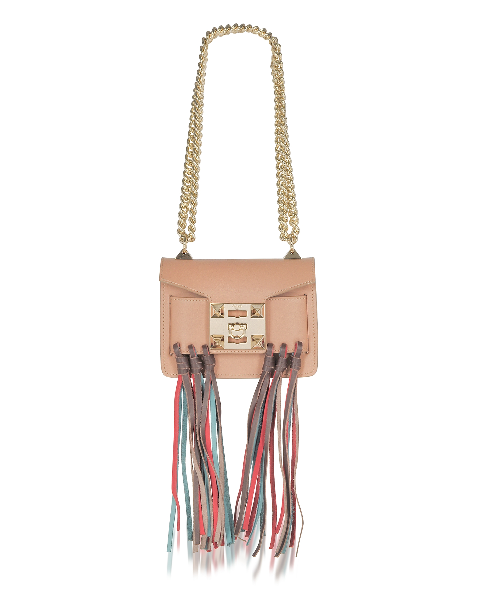 Salar Handbags, Gaia Rainbow Cognac Leather Shoulder Bag w/Fringes