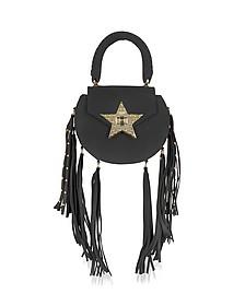 Mimi Fringe Black Nubuck Shoulder Bag w/Star - Salar