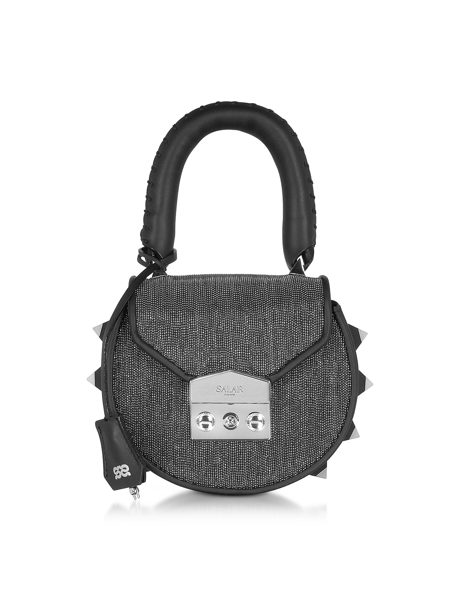 Salar Handbags, Mimi Mini Disco Gunmetal Shoulder Bag