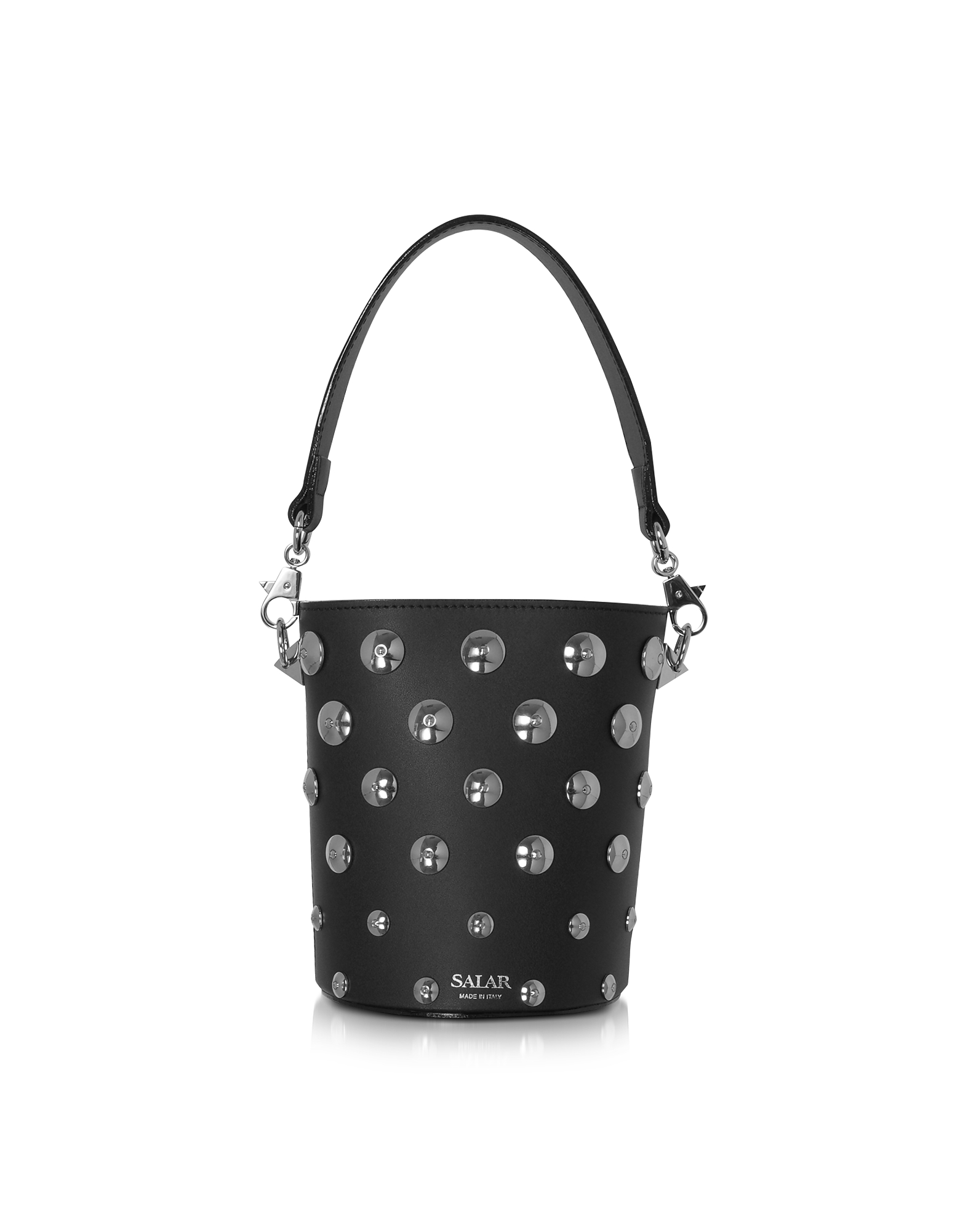 Salar Designer Handbags, Black Celia Moon Bucket Bag