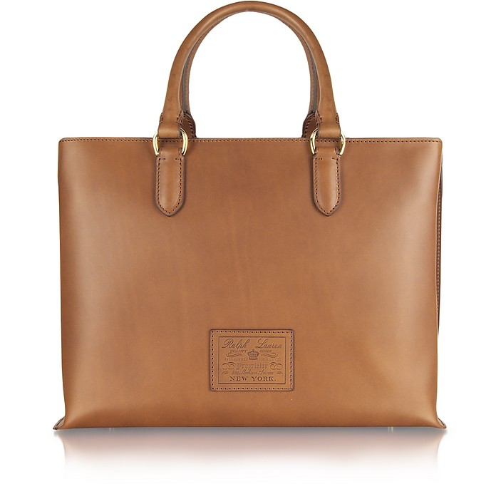 Saddle - Leather Tote Bag - Ralph Lauren Collection