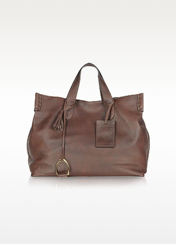 Vintage Brown Soft Leather Saddle Tote - Ralph Lauren Collection
