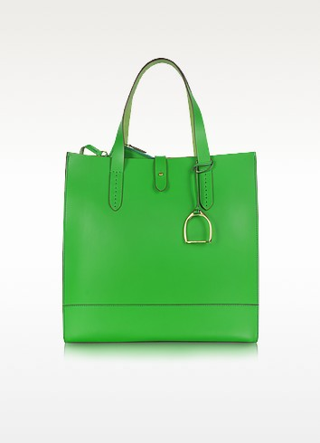Saddle Slim Leather Tote - Ralph Lauren Collection