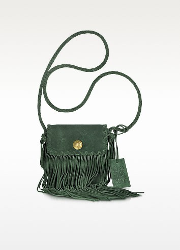 Fringed Flat Suede Crossbody Bag - Ralph Lauren