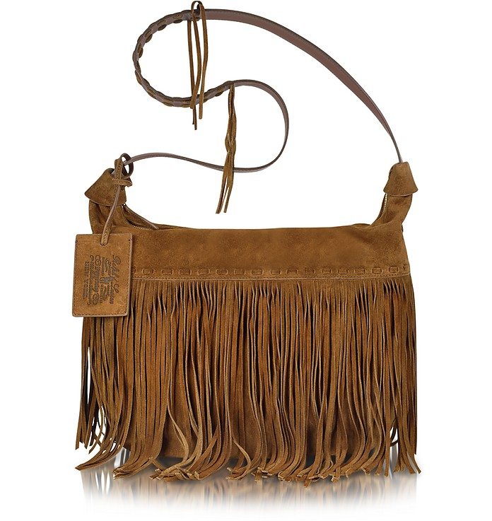 Large Brown Suede Crossbody Bag - Ralph Lauren