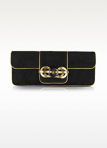 Black and Gold Suede Clutch - Ralph Lauren Collection