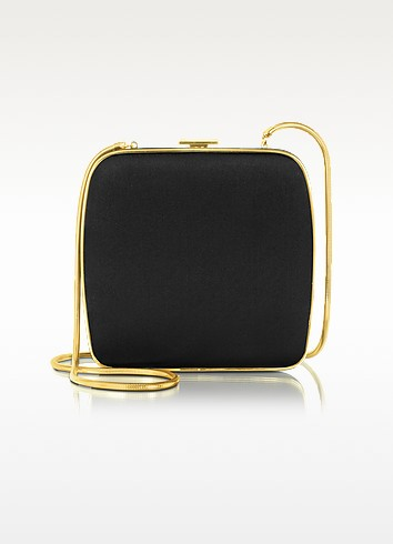 Black Square Satin Clutch  - Ralph Lauren Collection