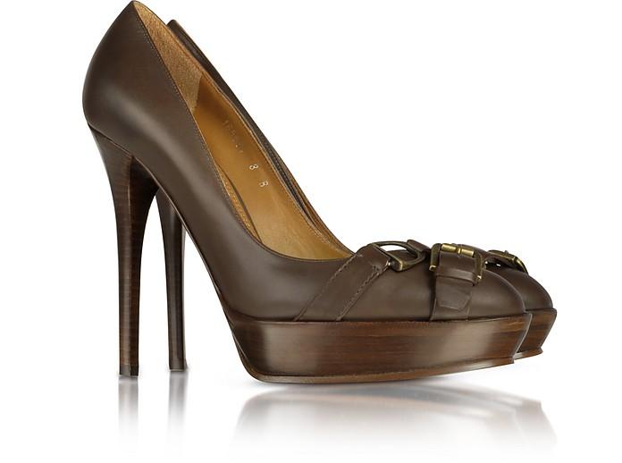 Courtney - Burnished Calf Leather Platform Pump - Ralph Lauren Collection