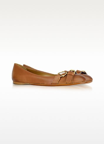 Umina - Burnished Calf Leather Ballerina Shoe - Ralph Lauren Collection