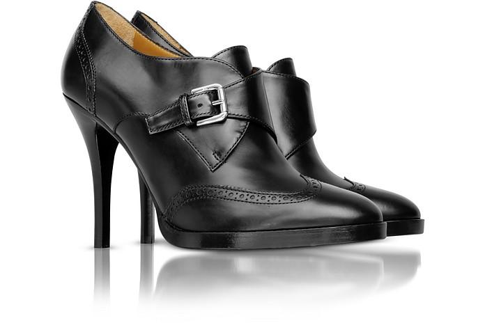 Nannie - Black Leather Monk Strap Bootie - Ralph Lauren Collection